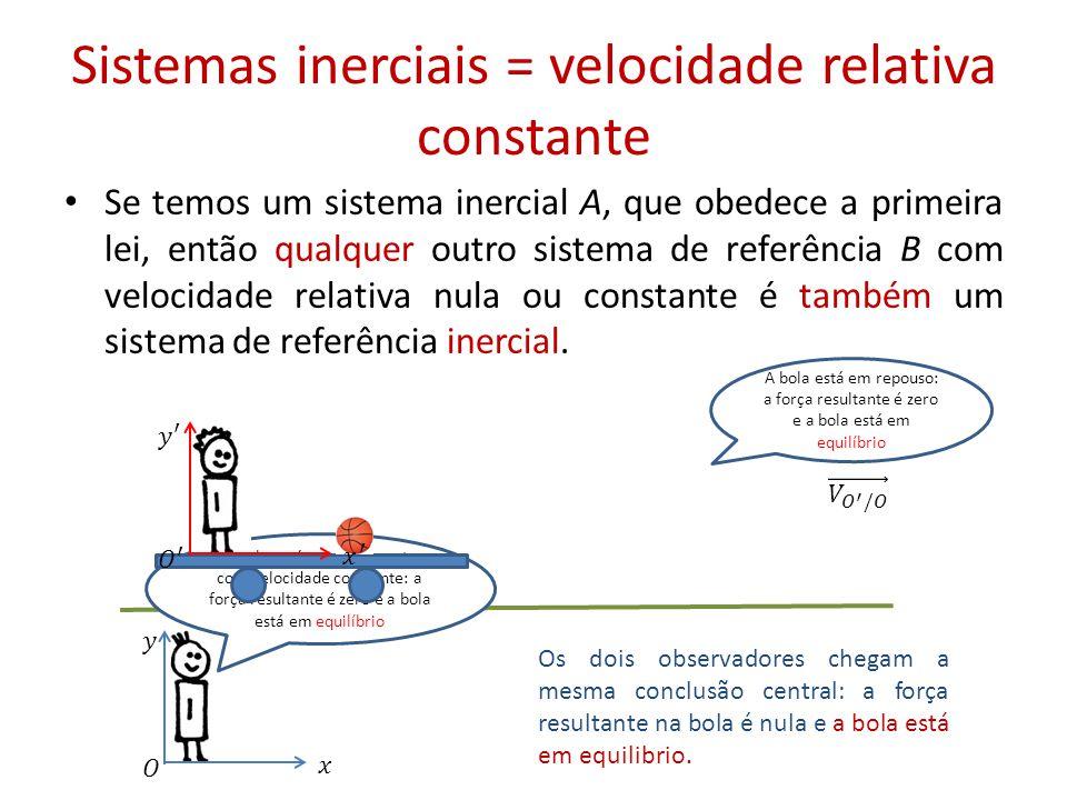Sistemas inerciais = velocidade relativa constante • Se temos um sistema inercial A, que obedece a primeira lei, então qualquer outro sistema de referência B com velocidade relativa nula ou constante é também um sistema de referência inercial.