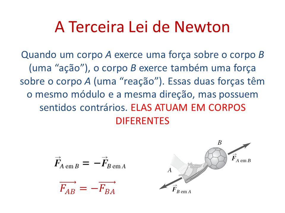 A Terceira Lei de Newton Quando um corpo A exerce uma força sobre o corpo B (uma ação ), o corpo B exerce também uma força sobre o corpo A (uma reação ).