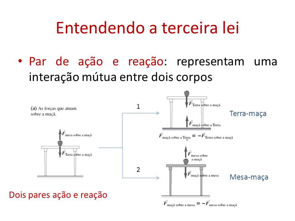 Entendendo a terceira lei • Par de ação e reação: representam uma interação mútua entre dois corpos Dois pares ação e reação Terra-maça Mesa-maça 1 2