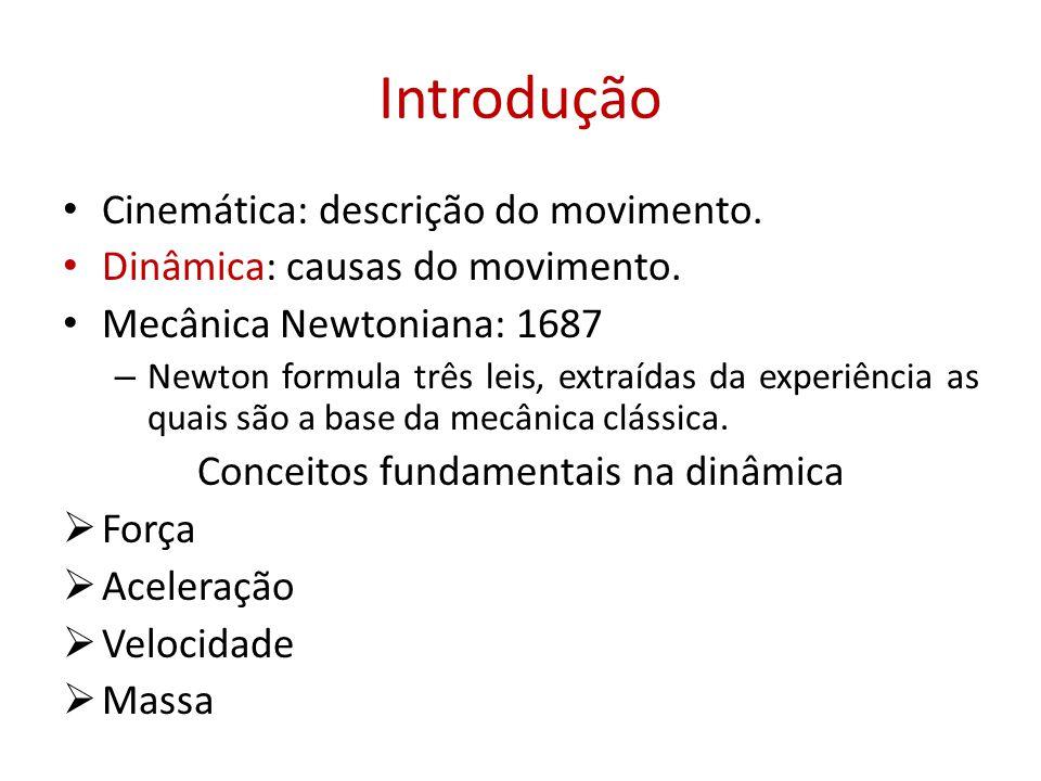 Introdução • Cinemática: descrição do movimento. • Dinâmica: causas do movimento. • Mecânica Newtoniana: 1687 – Newton formula três leis, extraídas da