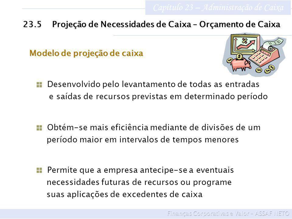 Capítulo 23 – Administração de Caixa 23.5Projeção de Necessidades de Caixa – Orçamento de Caixa Desenvolvido pelo levantamento de todas as entradas e saídas de recursos previstas em determinado período Obtém-se mais eficiência mediante de divisões de um período maior em intervalos de tempos menores Permite que a empresa antecipe-se a eventuais necessidades futuras de recursos ou programe suas aplicações de excedentes de caixa Modelo de projeção de caixa