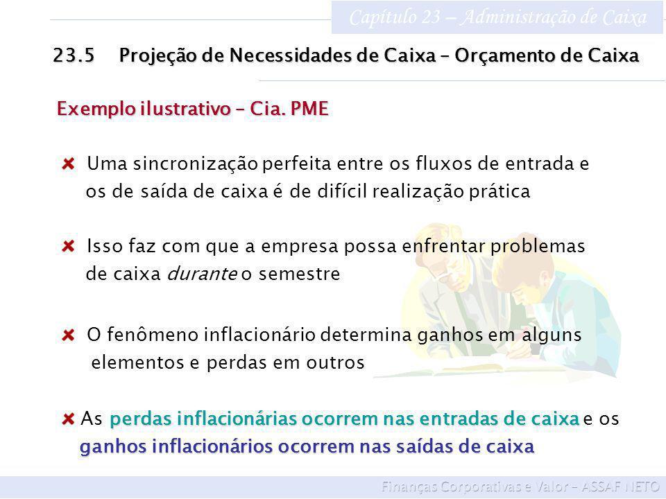 Capítulo 23 – Administração de Caixa 23.5Projeção de Necessidades de Caixa – Orçamento de Caixa Exemplo ilustrativo – Cia. PME Uma sincronização perfe