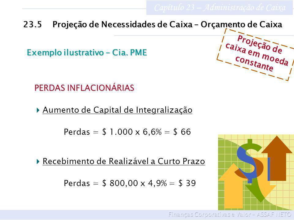Capítulo 23 – Administração de Caixa 23.5Projeção de Necessidades de Caixa – Orçamento de Caixa Exemplo ilustrativo – Cia.