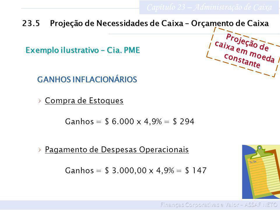 Capítulo 23 – Administração de Caixa 23.5Projeção de Necessidades de Caixa – Orçamento de Caixa Exemplo ilustrativo – Cia. PME Projeção de caixa em mo