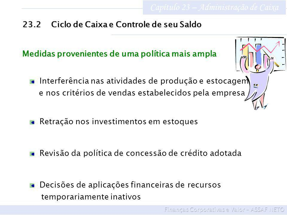 Capítulo 23 – Administração de Caixa 23.2Ciclo de Caixa e Controle de seu Saldo Interferência nas atividades de produção e estocagem e nos critérios d