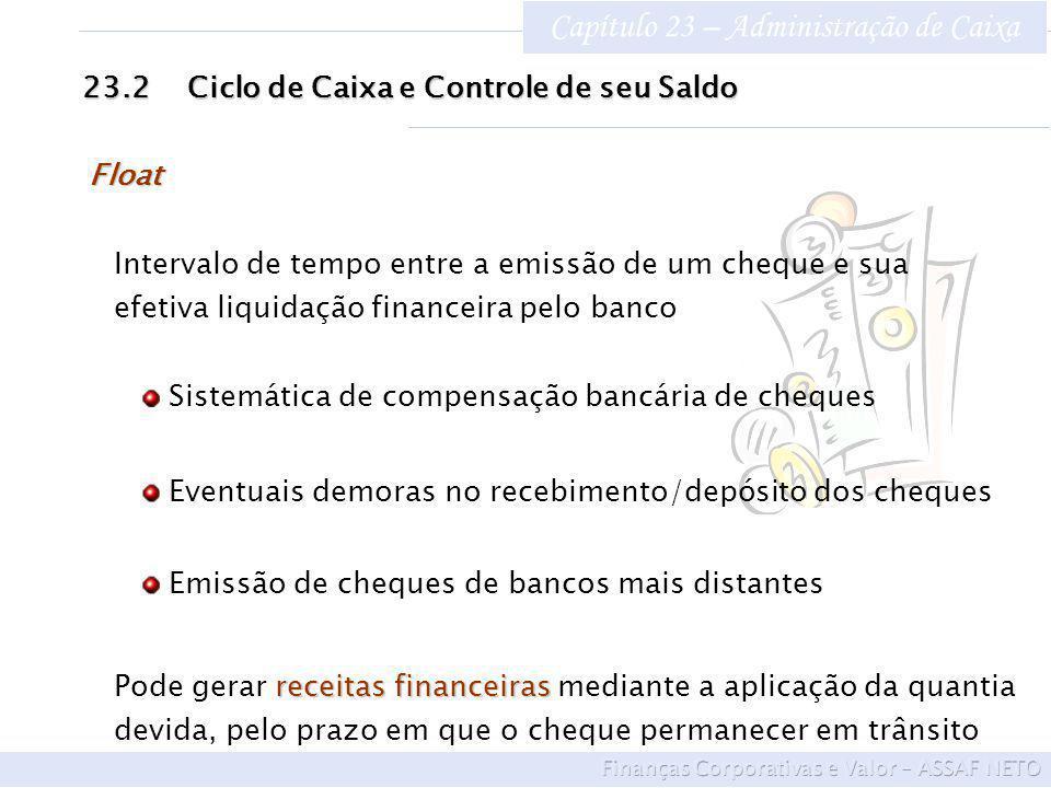 Capítulo 23 – Administração de Caixa 23.2Ciclo de Caixa e Controle de seu Saldo Float Intervalo de tempo entre a emissão de um cheque e sua efetiva li