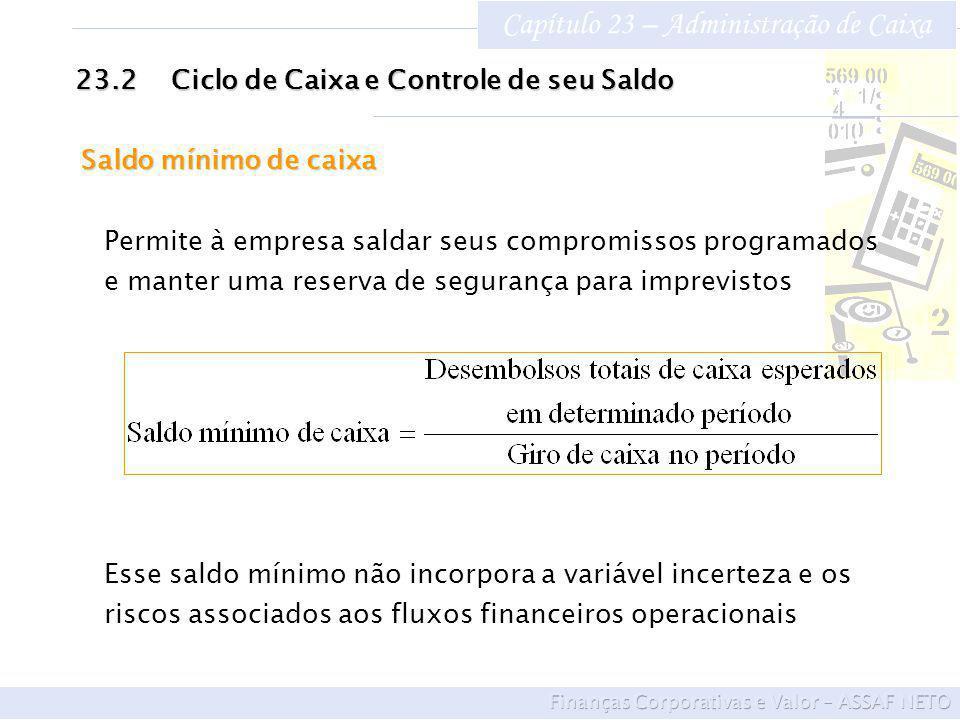 Capítulo 23 – Administração de Caixa 23.2Ciclo de Caixa e Controle de seu Saldo Saldo mínimo de caixa Permite à empresa saldar seus compromissos progr