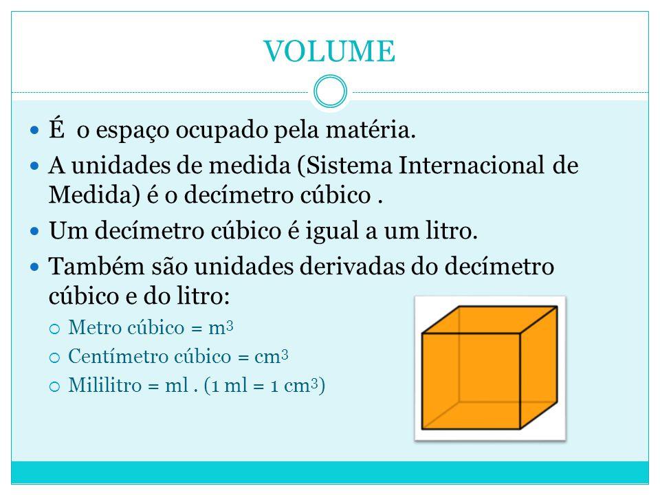 VOLUME  É o espaço ocupado pela matéria.  A unidades de medida (Sistema Internacional de Medida) é o decímetro cúbico.  Um decímetro cúbico é igual