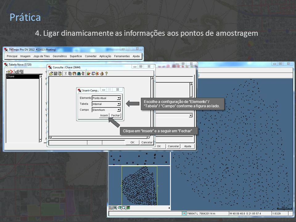 """Prática 4. Ligar dinamicamente as informações aos pontos de amostragem Escolhe a configuração de """"Elemento"""" / """"Tabela"""" / """"Campo"""" conforme a figura ao"""