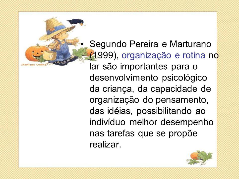 •Segundo Pereira e Marturano (1999), organização e rotina no lar são importantes para o desenvolvimento psicológico da criança, da capacidade de organ