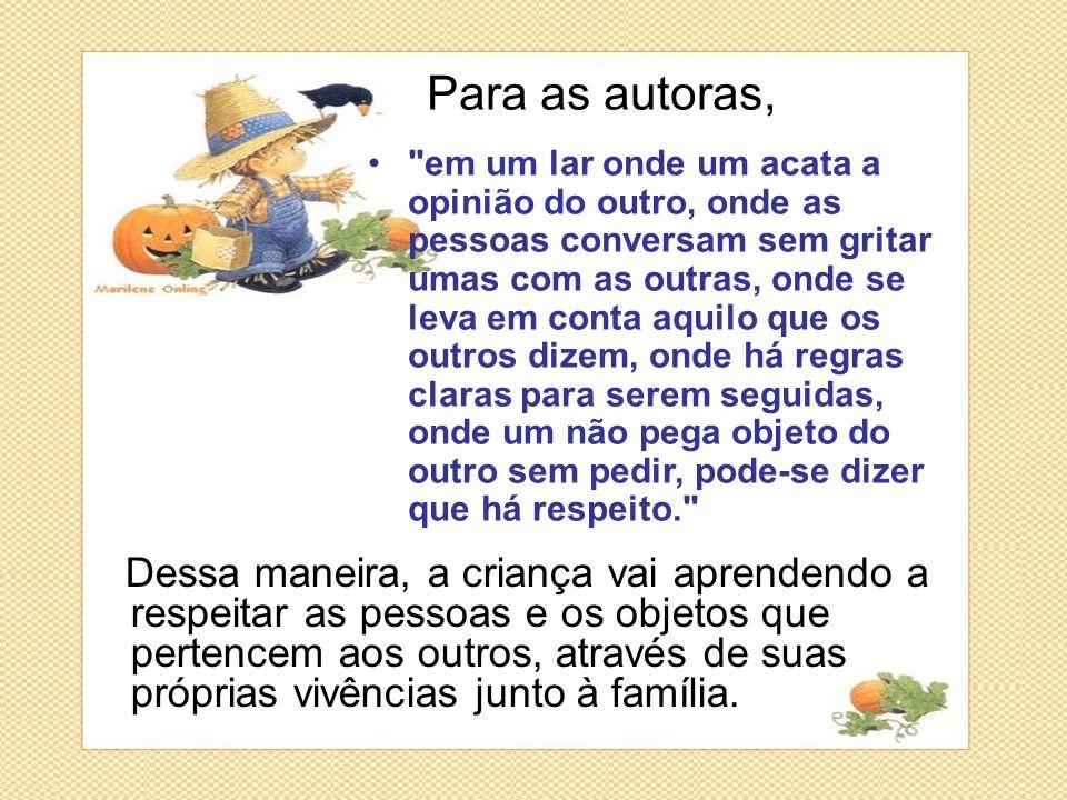 Dessa maneira, a criança vai aprendendo a respeitar as pessoas e os objetos que pertencem aos outros, através de suas próprias vivências junto à famíl