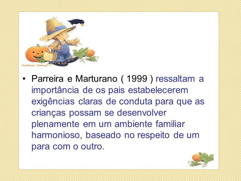 •Parreira e Marturano ( 1999 ) ressaltam a importância de os pais estabelecerem exigências claras de conduta para que as crianças possam se desenvolve