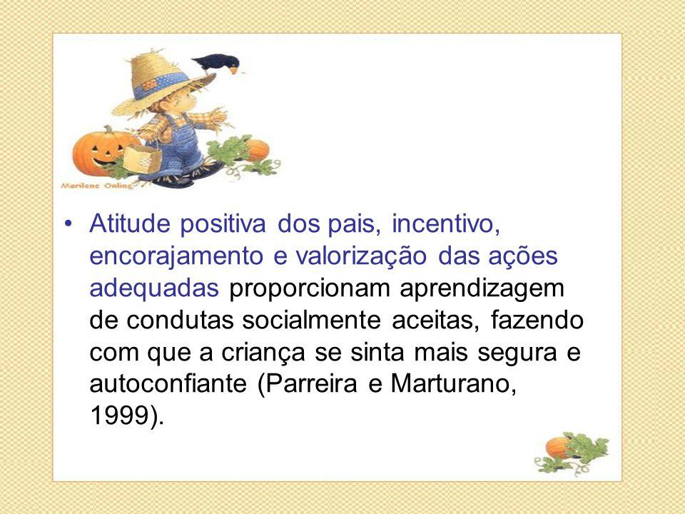 •Atitude positiva dos pais, incentivo, encorajamento e valorização das ações adequadas proporcionam aprendizagem de condutas socialmente aceitas, faze