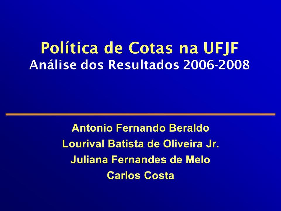 Política de Cotas na UFJF Análise dos Resultados 2006-2008 Antonio Fernando Beraldo Lourival Batista de Oliveira Jr. Juliana Fernandes de Melo Carlos