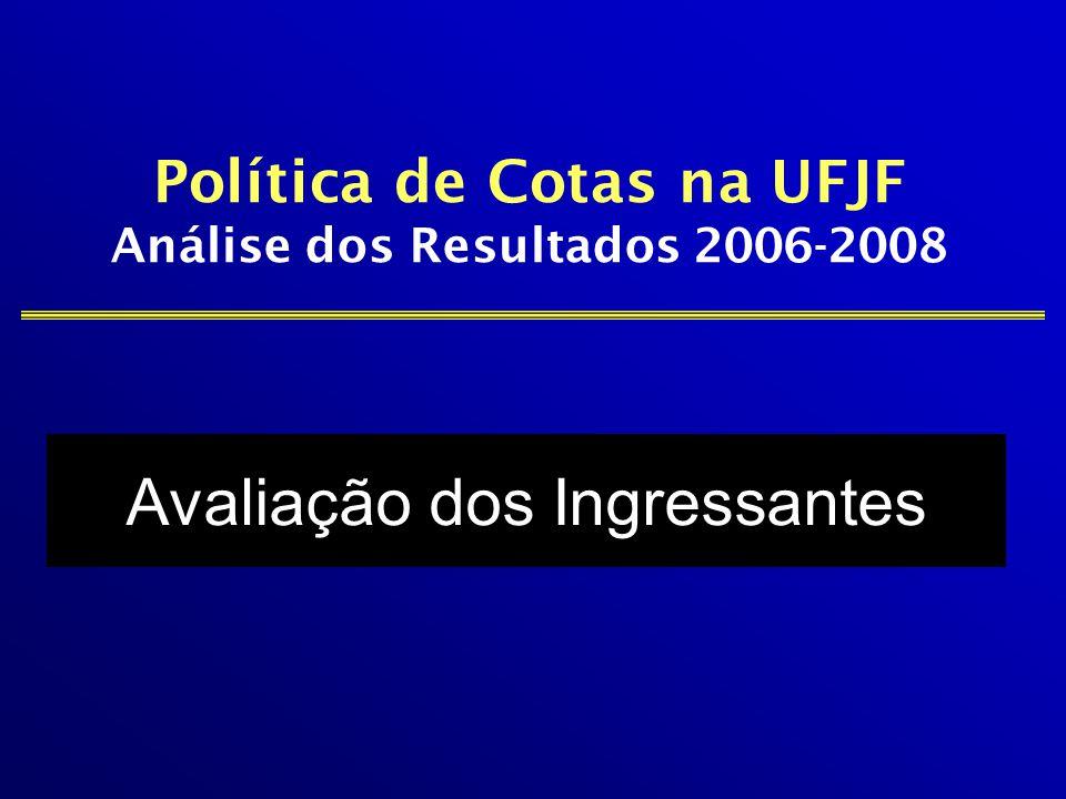 Avaliação dos Ingressantes Política de Cotas na UFJF Análise dos Resultados 2006-2008