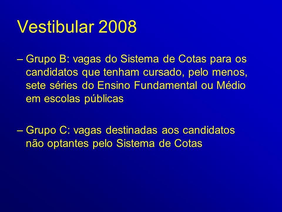 Vestibular 2008 –Grupo B: vagas do Sistema de Cotas para os candidatos que tenham cursado, pelo menos, sete séries do Ensino Fundamental ou Médio em e