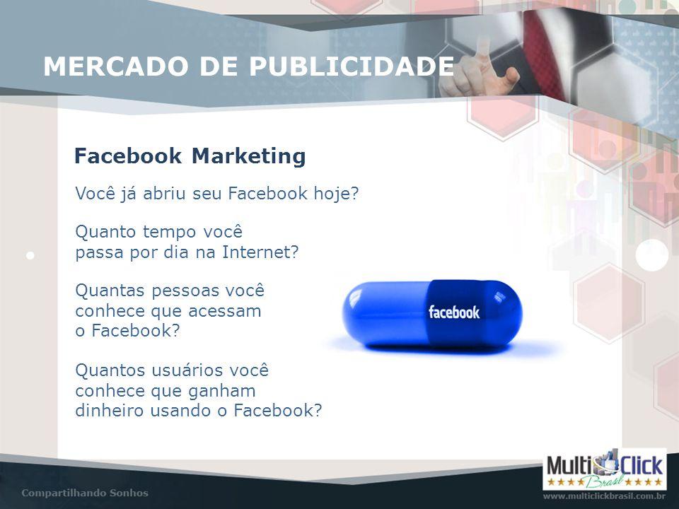 MERCADO DE PUBLICIDADE Facebook Marketing Você já abriu seu Facebook hoje? Quanto tempo você passa por dia na Internet? Quantas pessoas você conhece q