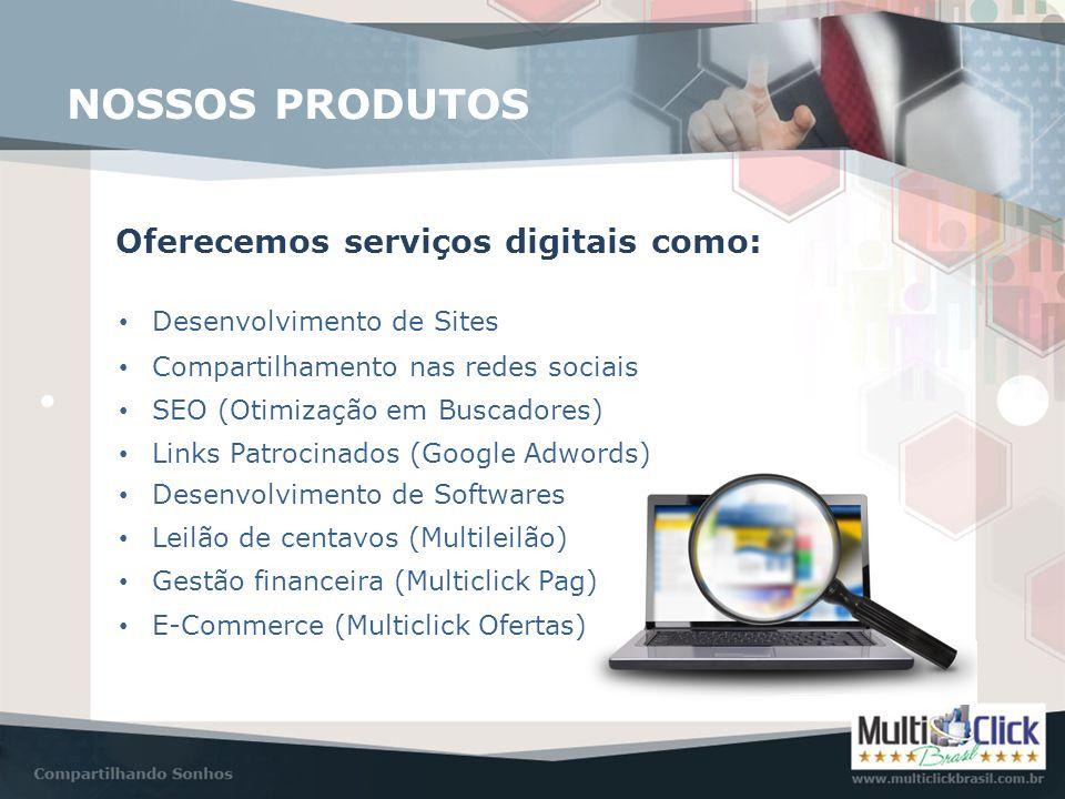 NOSSOS PRODUTOS Oferecemos serviços digitais como: • Desenvolvimento de Sites • Compartilhamento nas redes sociais • SEO (Otimização em Buscadores) •