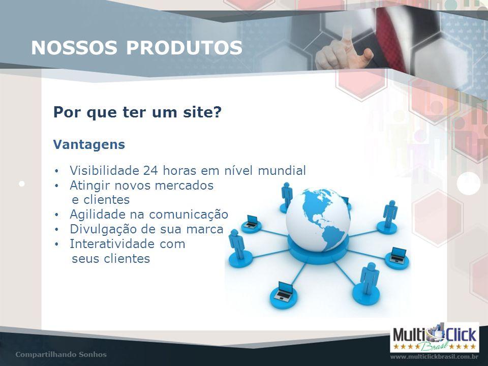 NOSSOS PRODUTOS Por que ter um site? Vantagens • Visibilidade 24 horas em nível mundial • Atingir novos mercados e clientes • Agilidade na comunicação