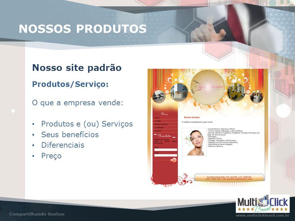 Produtos/Serviço: Nosso site padrão O que a empresa vende: • Produtos e (ou) Serviços • Seus benefícios • Diferenciais • Preço NOSSOS PRODUTOS