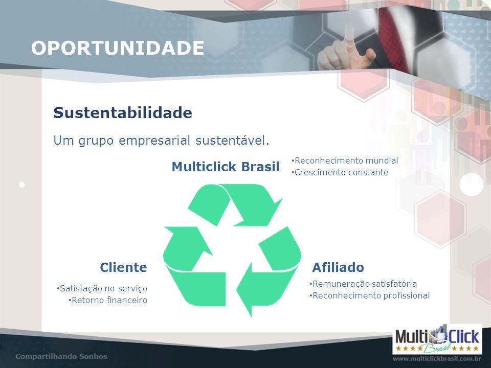Sustentabilidade Um grupo empresarial sustentável. • Reconhecimento mundial • Crescimento constante • Satisfação no serviço • Retorno financeiro • Rem