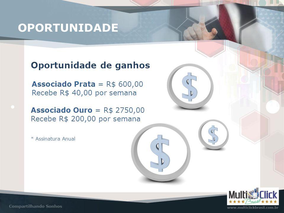 OPORTUNIDADE Oportunidade de ganhos Associado Prata = R$ 600,00 Recebe R$ 40,00 por semana Associado Ouro = R$ 2750,00 Recebe R$ 200,00 por semana * A