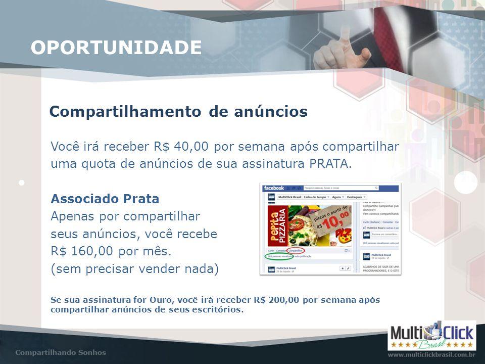 Compartilhamento de anúncios OPORTUNIDADE Você irá receber R$ 40,00 por semana após compartilhar uma quota de anúncios de sua assinatura PRATA. Associ