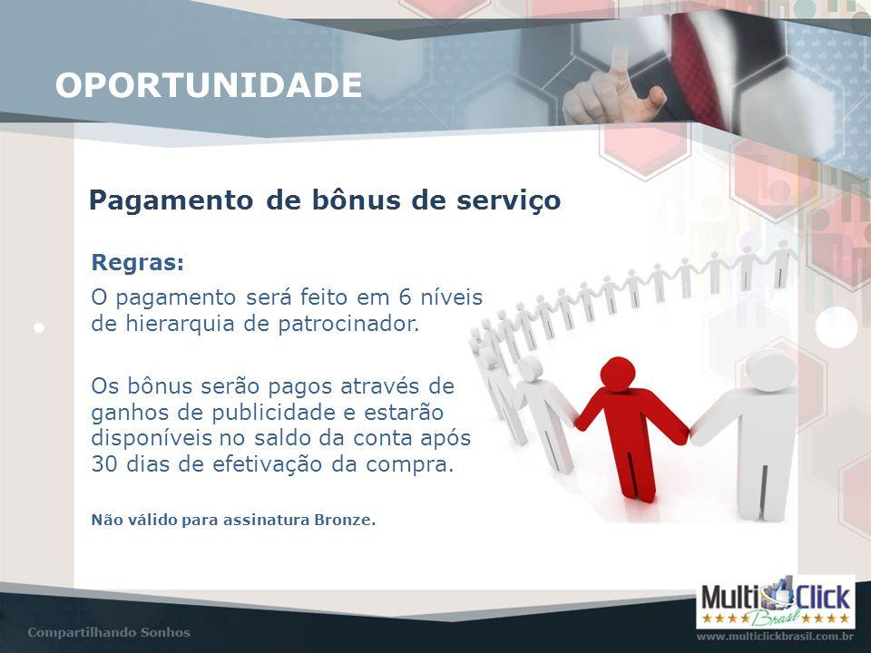 Pagamento de bônus de serviço OPORTUNIDADE Regras: O pagamento será feito em 6 níveis de hierarquia de patrocinador. Os bônus serão pagos através de g