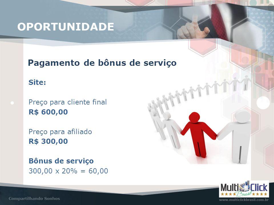 Pagamento de bônus de serviço OPORTUNIDADE Site: Preço para cliente final R$ 600,00 Preço para afiliado R$ 300,00 Bônus de serviço 300,00 x 20% = 60,0