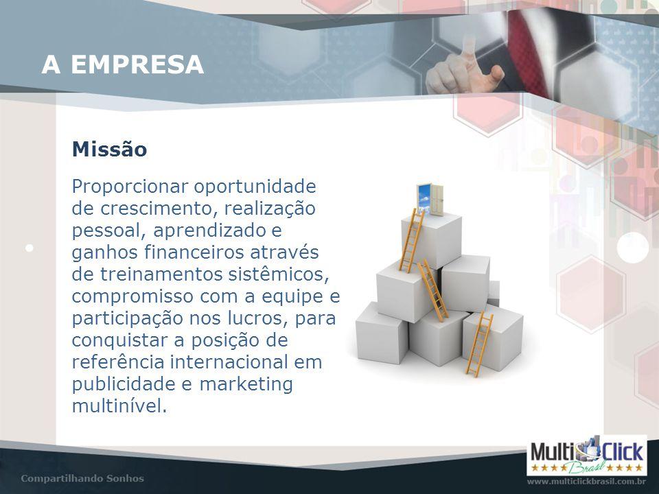 A EMPRESA Visão Ser uma empresa em contínuo crescimento, com processos definidos, treinamentos sistemáticos, sistema operacional sólido e financeiramente sustentável, sendo referência internacional em publicidade e marketing de internet e redes sociais.