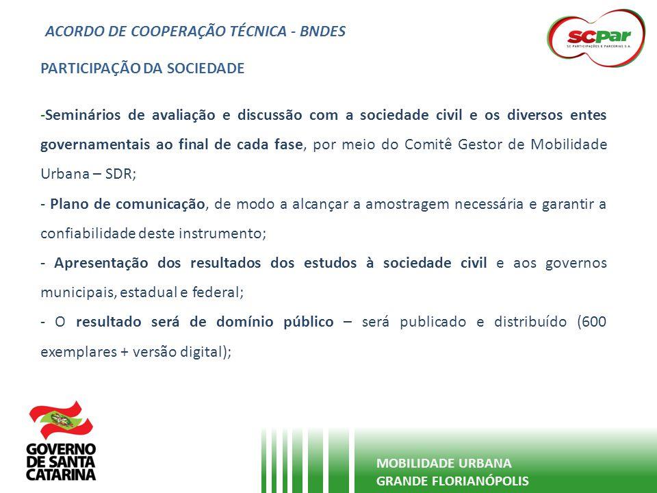 ACORDO DE COOPERAÇÃO TÉCNICA - BNDES MOBILIDADE URBANA GRANDE FLORIANÓPOLIS PARTICIPAÇÃO DA SOCIEDADE -Seminários de avaliação e discussão com a socie