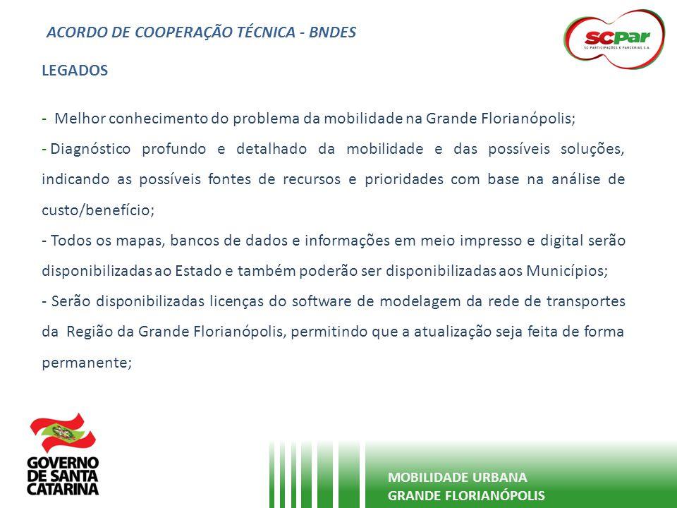 ACORDO DE COOPERAÇÃO TÉCNICA - BNDES MOBILIDADE URBANA GRANDE FLORIANÓPOLIS LEGADOS - Melhor conhecimento do problema da mobilidade na Grande Florianó
