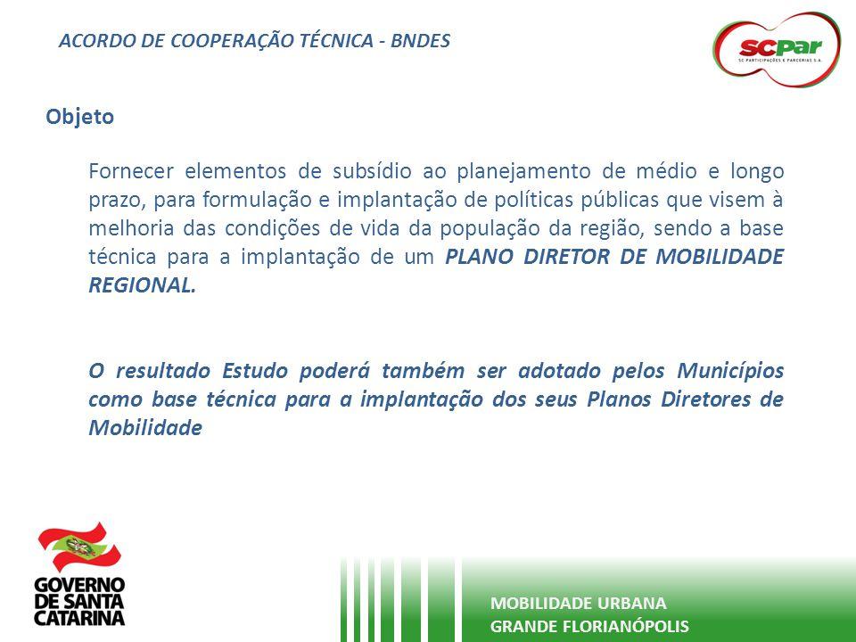ACORDO DE COOPERAÇÃO TÉCNICA - BNDES MOBILIDADE URBANA GRANDE FLORIANÓPOLIS A área de abrangência do estudo será os 13 Municípios da Grande Florianópolis