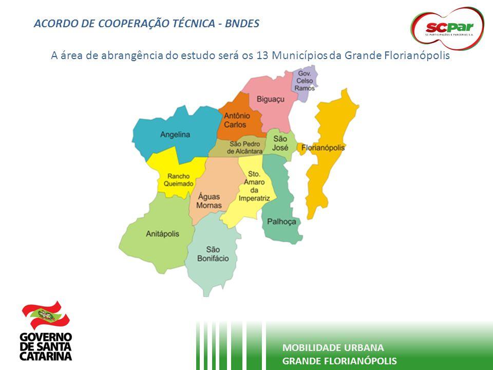 ACORDO DE COOPERAÇÃO TÉCNICA - BNDES MOBILIDADE URBANA GRANDE FLORIANÓPOLIS - Assinado em 12 de março de 2013; - Anuência dos 13 prefeitos dos Municípios da Região da Grande Florianópolis; - Comissão Interinstitucional de Avaliação das Propostas e Acompanhamento: - BNDES / SCPar (2) / SDR (2) / PM Florianópolis (2) / PM São José (1) / PM Palhoça (1) / PM Biguaçu (1) - Recursos oriundos do FEP – Fundo de Estruturação de Projetos - Contratação por meio de chamada pública – processo diferenciado de contratação - Sem ônus financeiro para Estado e Municípios - Estudo publicado e de DOMÍNIO PÚBLICO - Abertura das propostas em 17 de junho de 2013 - Meta para início dos trabalhos em agosto/2013 – Prazo de 12 meses para apresentação do resultado final;