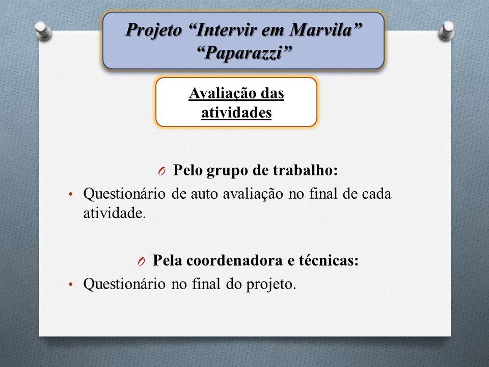 O Pelo grupo de trabalho: • Questionário de auto avaliação no final de cada atividade.