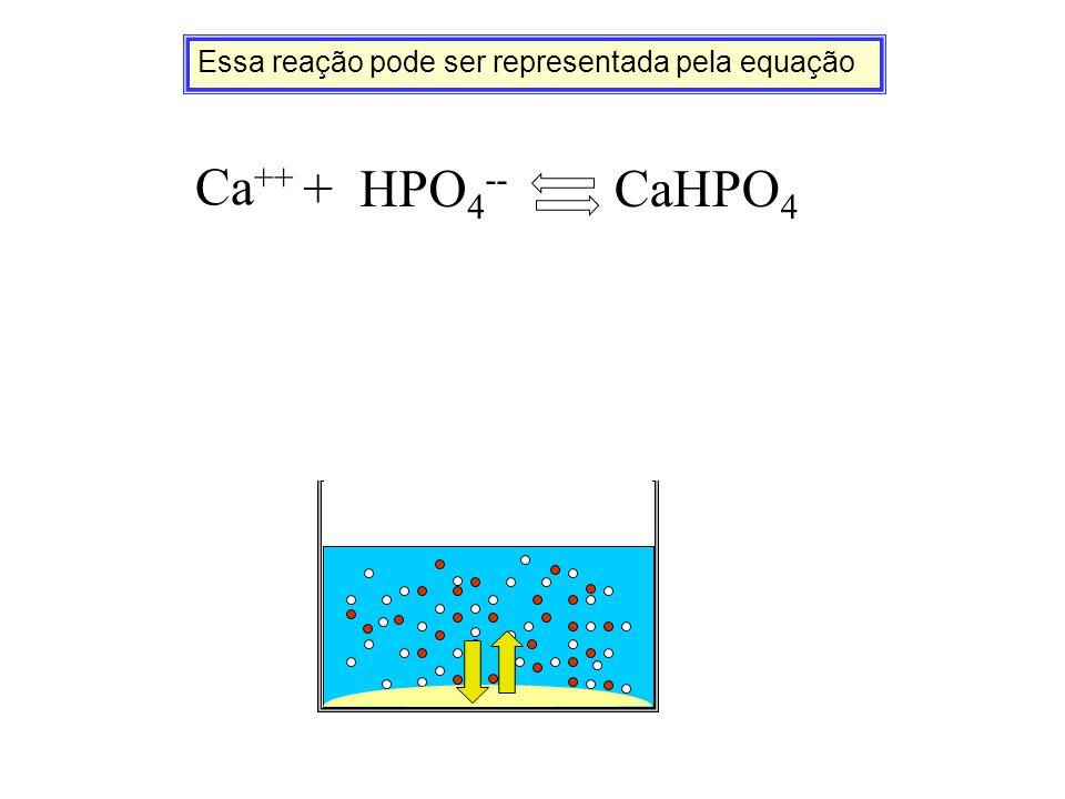 Essa reação pode ser representada pela equação Ca ++ + HPO 4 -- CaHPO 4