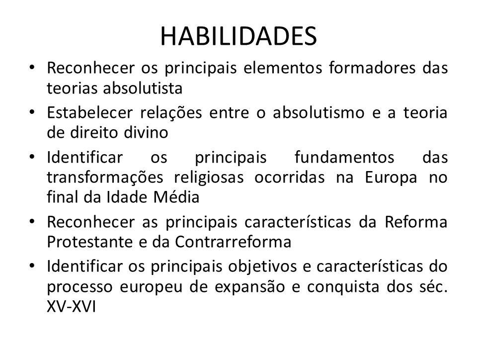 HABILIDADES • Reconhecer os principais elementos formadores das teorias absolutista • Estabelecer relações entre o absolutismo e a teoria de direito d
