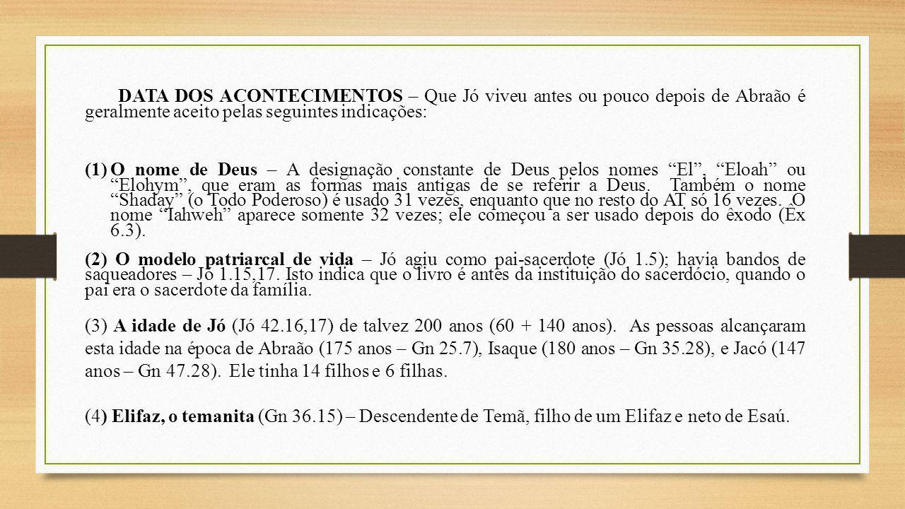 DATA DOS ACONTECIMENTOS – Que Jó viveu antes ou pouco depois de Abraão é geralmente aceito pelas seguintes indicações: (1)O nome de Deus – A designaçã