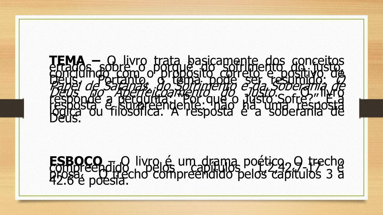 I.PRÓLOGO (prosa) – Jó testado pelo sofrimento …………………………………..1- 2 II.