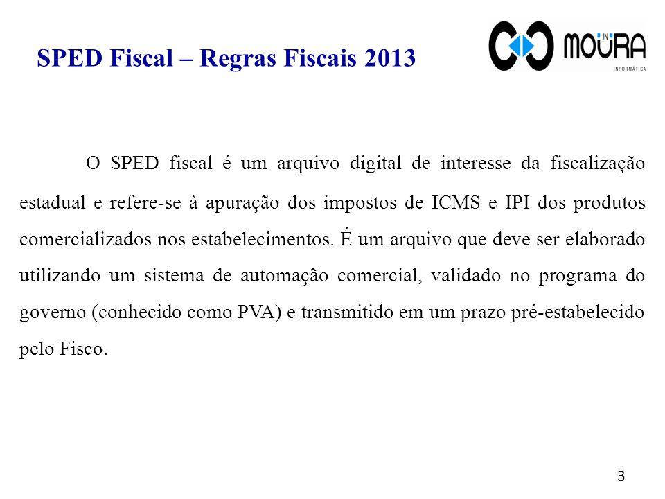 3 O SPED fiscal é um arquivo digital de interesse da fiscalização estadual e refere-se à apuração dos impostos de ICMS e IPI dos produtos comercializados nos estabelecimentos.