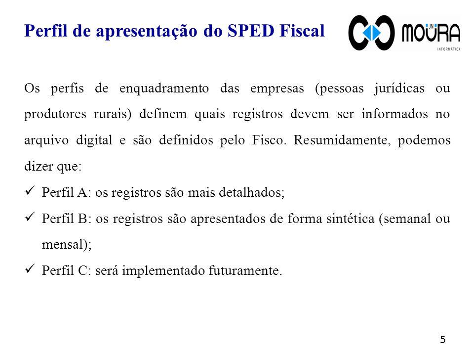 Os perfis de enquadramento das empresas (pessoas jurídicas ou produtores rurais) definem quais registros devem ser informados no arquivo digital e são definidos pelo Fisco.