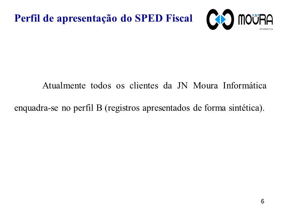 Atualmente todos os clientes da JN Moura Informática enquadra-se no perfil B (registros apresentados de forma sintética).