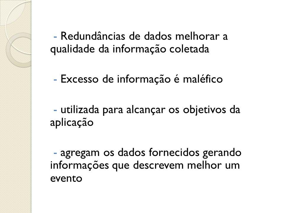 - Redundâncias de dados melhorar a qualidade da informação coletada - Excesso de informação é maléfico - utilizada para alcançar os objetivos da aplic