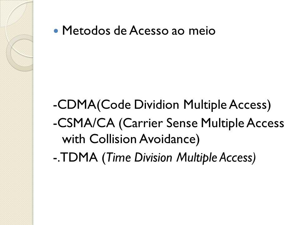  Metodos de Acesso ao meio -CDMA(Code Dividion Multiple Access) -CSMA/CA (Carrier Sense Multiple Access with Collision Avoidance) -.TDMA (Time Divisi
