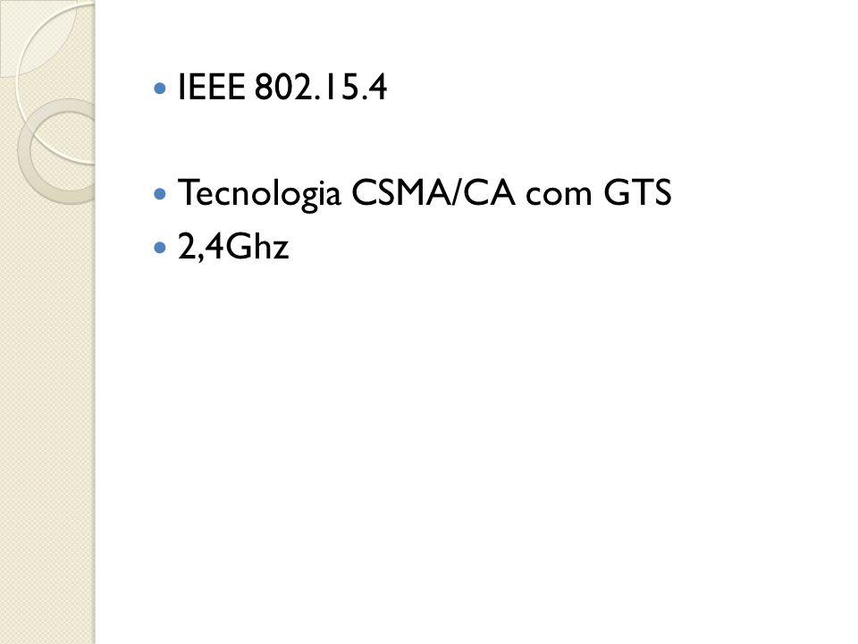  IEEE 802.15.4  Tecnologia CSMA/CA com GTS  2,4Ghz