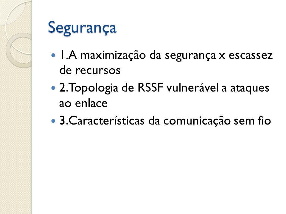 Segurança  1.A maximização da segurança x escassez de recursos  2.Topologia de RSSF vulnerável a ataques ao enlace  3.Características da comunicaçã