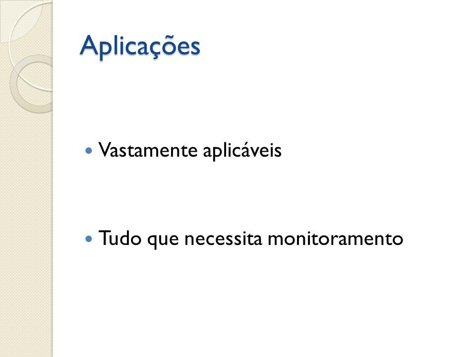 Aplicações  Vastamente aplicáveis  Tudo que necessita monitoramento
