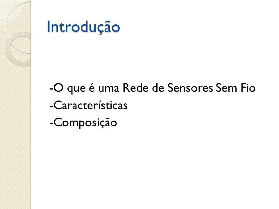 Introdução -O que é uma Rede de Sensores Sem Fio -Características -Composição