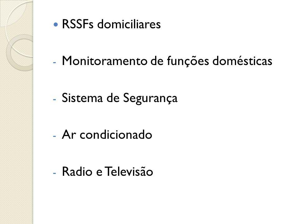  RSSFs domiciliares - Monitoramento de funções domésticas - Sistema de Segurança - Ar condicionado - Radio e Televisão