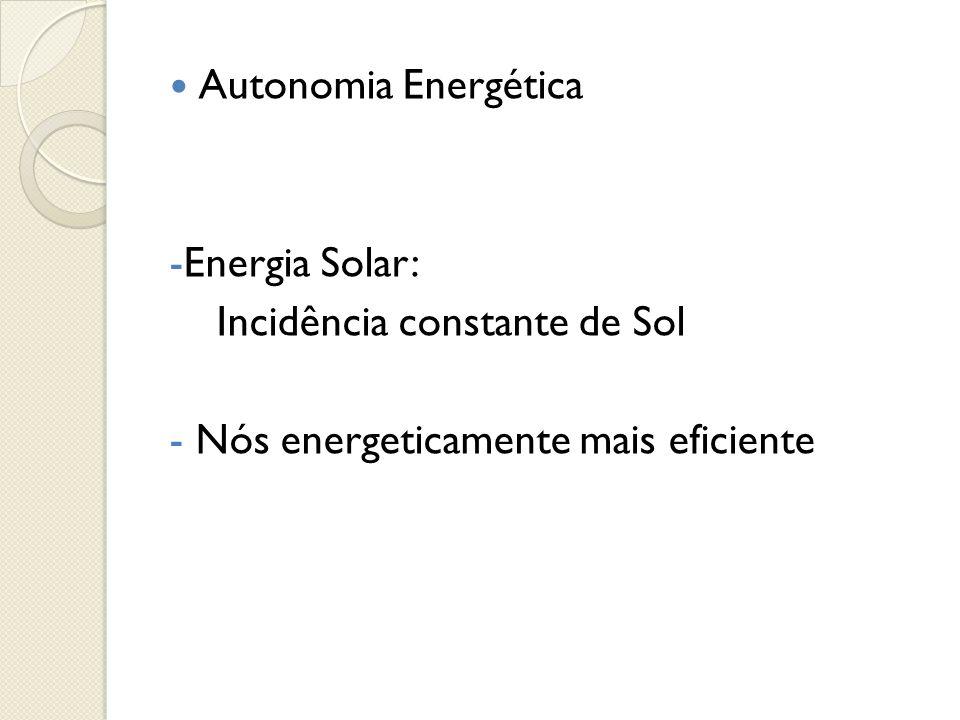  Autonomia Energética -Energia Solar: Incidência constante de Sol - Nós energeticamente mais eficiente